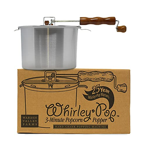 Whirley-Pop Popcorn Popper - Metal Gear - Silver- With Good Time Guide