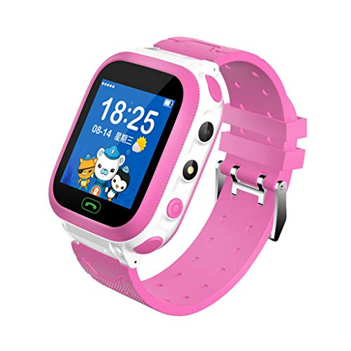 2019 - Reloj Inteligente para niños con cámara Digital con Llamada de Emergencia, posicionamiento GPS, cámara remota, Resistente al Agua, anticaída, Reloj Inteligente SOS para 3-12 años de Edad