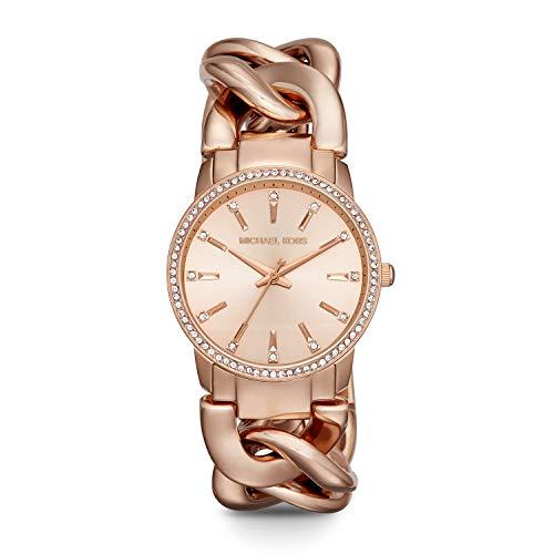 Michael Kors Women's Lady Nini Quartz Watch with Stainless-Steel-Plated Strap, Rose Gold, 18 (Model: MK3236)