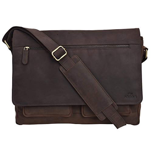 Leather Messenger Bag for Men & Women 14inch laptop Bag for Travel College Work - Handmade by LEVOGUE (Brown Oily Hunter)