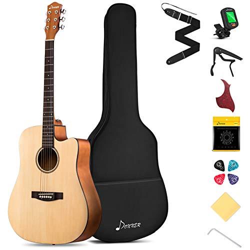 Donner Acoustic Guitar Full Size Kit Guitar 4/4 Beginner 41 Inch Cutaway Guitar Starter Dreadnought with Gig Bag Capo Picks Strap String (Wood)