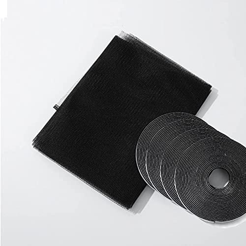 Tela de mosquitera negra de 3 metros x 2,50 metros. Incluye 4 cintas adhesivas macho de 3 metros x 2 cm de color negro. Tela de mosquitera para ventanas, puertas, terrazas, caravanas