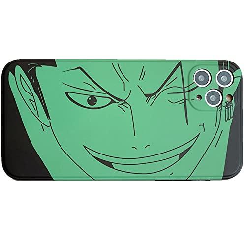 TXWL Anime One Piece Case para iPhone 11/12 Pro Max 12 Mini 7/8 Plus X XR XS Max, TPU suave anti-arañazos huella dactilar Basic-Cases verde-X/XS