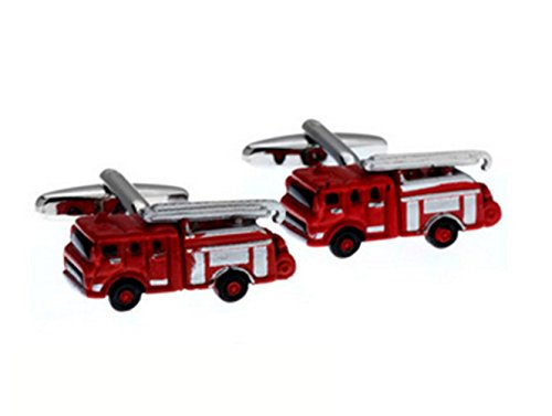 Gudeke Fire Truck Firemen Cufflinks Cuff Links Firefighter Car Red Emergency Camion de pompier Boutons de manchette