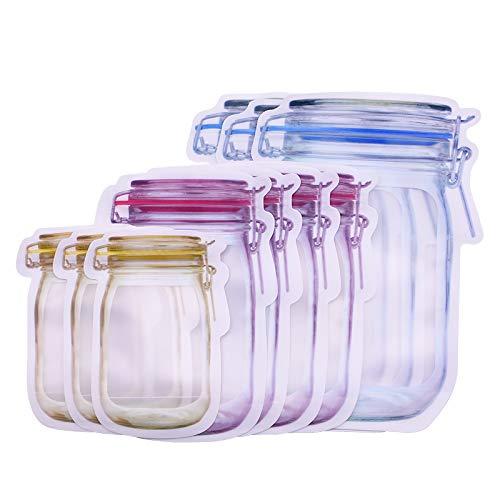 CUTICATE Mason Jar Bolsas con Cremallera Snack Nuts Té Bolsas Herméticas con Cierre Hermético para Viajes - 10Pcs