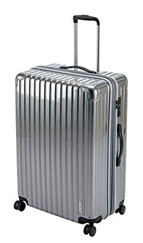 キャプテンスタッグ(CAPTAIN STAG) スーツケース キャリーケース キャリーバッグ 超軽量 TSAロック ダブルホイール 360度回転 静音 ダブルファスナータイプ Lサイズ シルバー パルティール UV-76