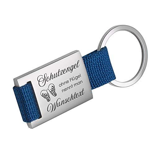 Schlüsselanhänger Schutzengel ohne Flügel nennt Man (Wunschtext): Anhänger mit Name und Wunschgravur Gravur personalisiert - persönliche Geschenkidee für alle Berufe (blau, Mit Rückseitengravur)