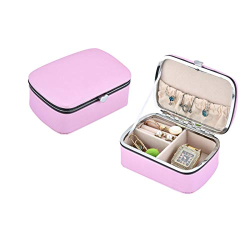 Yunly Mini Jewellery Box, Small PU LeatherJewellery Display Storage Box Jewellery Storage Case for Rings Earrings Necklaces Gifts (Pink)