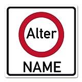 Herz & Heim® Riesiges PVC Verkehrsschild zum Geburtstag mit gewünschten Namen und Alter