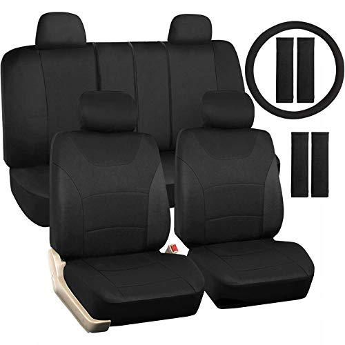 Black Car Seat Covers Full Set, 14 Pcs Combo Cloth Seat Cover with Steering Wheel Cover and Seat Belt Pad, Universal fit for Sedan/SUV/Pick up Truck