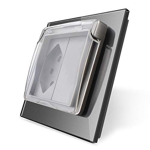 wkd-thvb - Enchufe estándar de la UE israel, panel de cristal de 16 A, enchufe británico, enchufe británico y estadounidense, con tapa impermeable, sin logotipo, gris Single Swizss