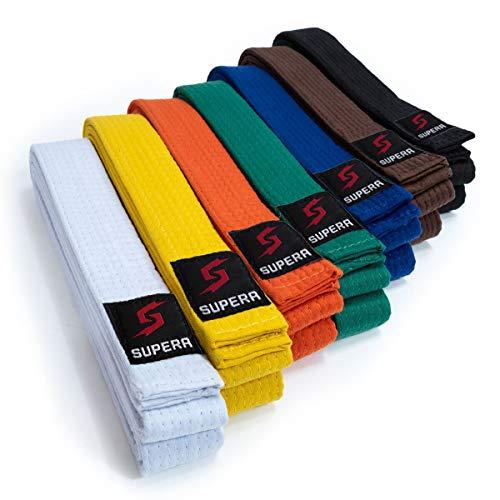 Supera - Cintura da arti marziali, lunghezza  Karate, in tessuto extra spesso Taekwondo - Cintura Budo per bambini e adulti, bianco, 240 cm