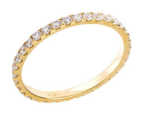 Ardeo Aurum Damenring aus 375 Gold Gelbgold mit Zirkonia im Brillant-Schliff Memory-Ring Eternity Vorsteckring