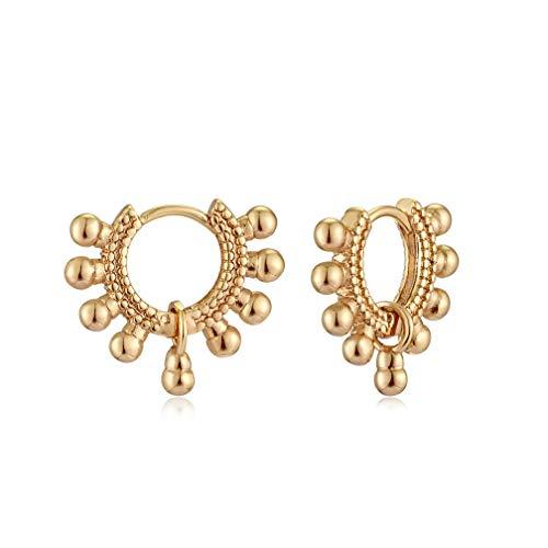VACRONA Gold Ball Huggie Earrings for Women 18K Gold Plated Sleeper Earrings Balls pendant Earrings Danity simple Tiny Huggy Hoop Earrings Cute Charms Beaded Huggie Hoop Earrings Gifts for Her