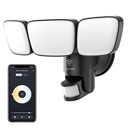 Novostella 45W Smart Security Light Outdoor Tunable White Motion Sensor 2700K-6500K Exterior WiFi LED Flood Lights Waterproof Alexa Floodlight Outside Spotlight for Backyard Yard 3 Head Black 4500LM