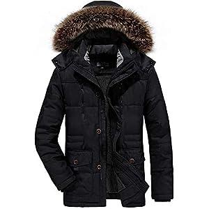 YACORESYA モッズコート メンズ 中綿入り 裏ボア 起毛 ジャケット 無地 厚手 ダウンフーディジャケット 大きいサイズ ファー ジップアップ アウター フード付き 秋 冬 防寒 防風 コート カジュアル