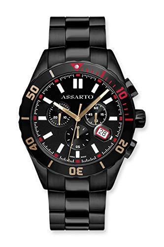 ASSARTO Watches ASH-9824BK-BLK Seapearl-Series Chronograph mit Schweizer Uhrwerk und Saphirglas, Taucheruhr, Schwarze Uhr, Armbanduhr, Herrenuhr, Sportuhr, Damenuhr, Quarzuhr