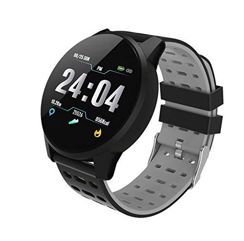 CJM Deportes Reloj Inteligente Hombres y Mujeres presión Arterial Actividad Impermeable Monitor de Ritmo cardíaco Monitor Inteligente Reloj Bluetooth Pantalla táctil Reloj GPS Android iOS,Gray