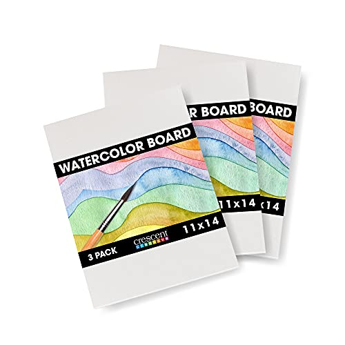 Crescent Creative Products Art & Illustration Watercolor Board, 11' X 14', White 3 Count