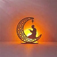 DIY Wooden Moon Candle Light Pendant, Eid Mubarak Ramadan Decor For Home Ornament, Eid Night Light Home Decorations for Festival Party Supplies (C)