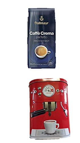 Dallmayr Crema for you perfetto mild und aromatisch 1.000g in Bohne NEU noch mehr Crema … + + Kaffeedose neu 3 D Design rot