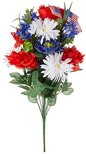 Admired By Nature GPB4340-RD/WT/BL Artificial Full Blooming Flowers, Medium, 1. ABN_RD/WT/BL_Daisy w/Flag