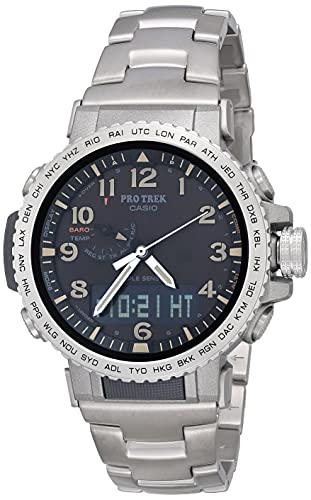 Casio Men's Pro Trek Stainless Steel Quartz Sport Watch with Titanium Strap, Silver, 22 (Model: PRW-50T-7ACR)