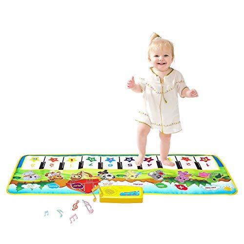 M SANMERSEN Kids Piano Mat, 39.5″ X 14″ Musical Mat Keyboard Music Mat with 8 Instrument Sounds Touch Play Dancing Mat Gift Toys for Boys Girls