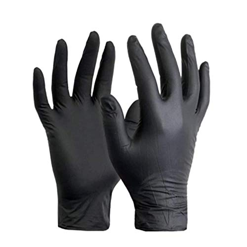 PACK OF 100 STRONG HEAVY DUTY BLACK NITRILE MEDIUM GLOVES Powder Free Disposable Black Nitrile...