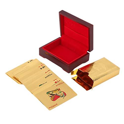 SeniorMar-UK Vergoldete Euro-Muster-Spielkarten 24 Karat vergoldetes Full Poker Deck Pures 110 * 80 * 40 Mm