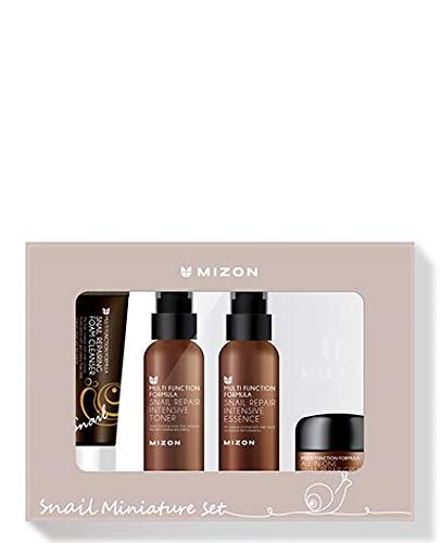 Mizon Snail Skincare Best Sellers Set - Mini Sized Snail Foam Cleanser, Toner, Essence, and All in One Facial Cream to Improve Skin Tone, Fine Wrinkles, Smooth, Moisturizing Care, Daily Snail Routine