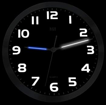 """hito Silent Non Ticking Wall Clock 12"""" w/ Smart Auto Nightlight Brightness Adjustable Silver Metal Frame Glass Cover Sweep Movement  Hands + Numbers Illuminate"""