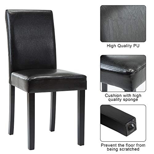 Dining Chairs Dining/Living Room Kitchen Chairs PU Leather Padded Chair with Solid Wood Legs Set of 2, Modern Urban Style,Black