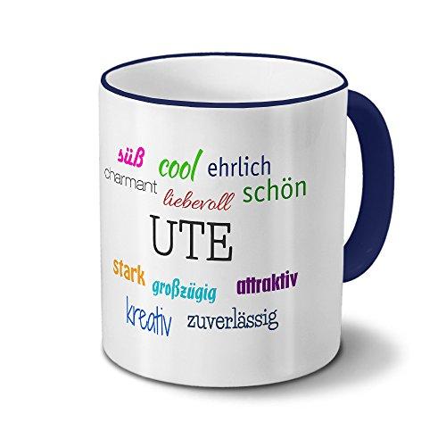 printplanet Tasse mit Namen Ute - Positive Eigenschaften von Ute - Namenstasse, Kaffeebecher, Mug, Becher, Kaffeetasse - Farbe Blau