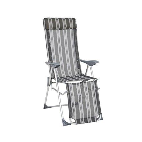greemotion Relaxsessel Texel silber/grau gestreift, platzsparend klappbar, Stuhl mit verstellbarer Rückenlehne und Fußteil, Campingstuhl aus robuster Textilene, besonders leichtes Alu-Gestell