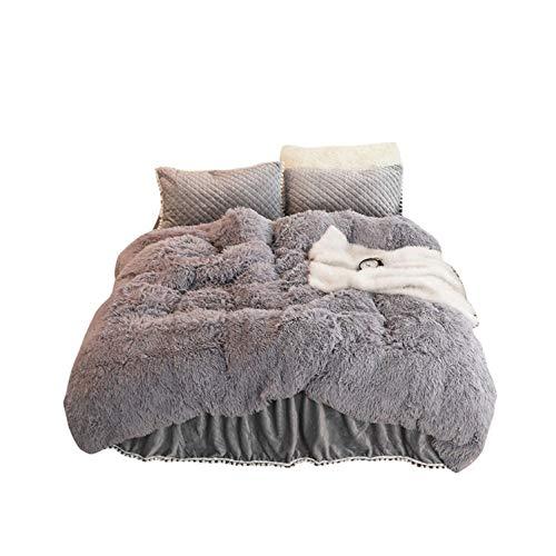 Mink Fleece Bedding Sets Crystal Velvet Winter Duvet Cover Quilted Warm Bed Skirt Pillowcases Twin Queen King Size,D,1X Bed Skirt 2M