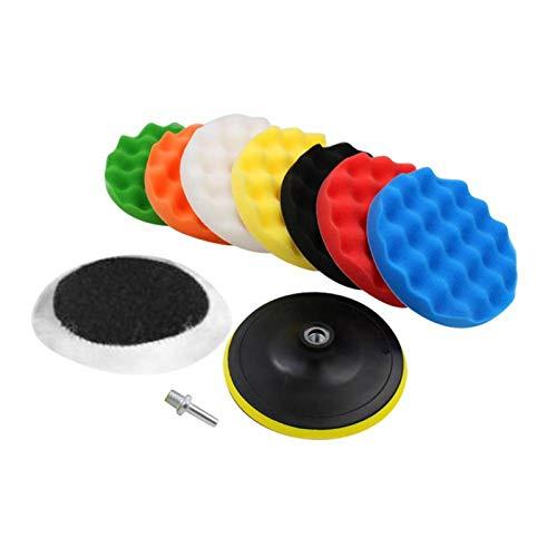 Kit de almohadillas de cera para pulir con pulido de esponja de 10 piezas para amortiguador de pulido de automóviles con adaptador de taladro Amoladora angular Barco(3寸)
