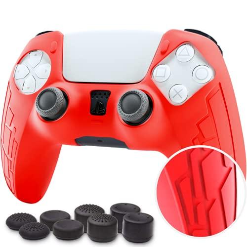 2021 Protection en Silicone pour Manette PS5 Dualsense, Housse Manette PS5, Accessoire de Protection pour Playstation 5, Protège la Manette PS5 des Chocs/Rayures, Antidérapant + 8 Grips FPS (Rouge)
