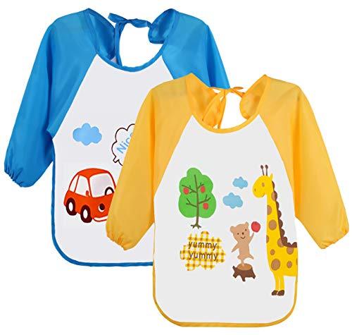 Leyaron 2 Pack Long Sleeved Bib Waterproof Baby Smock for Toddler Boys Girls