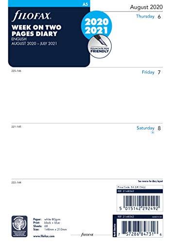 Filofax Kalendereinlage, A5, 1 Woche auf 2 Seiten, englisch, 20 August bis 21 Juli