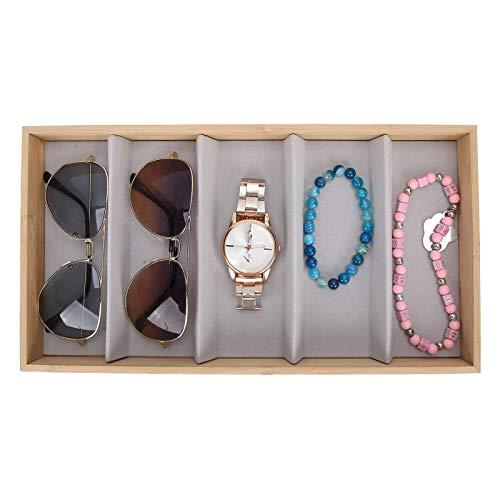 Brrnoo Caja de Almacenamiento de Gafas, Gafas de Sol Protectoras de Madera, Accesorios de Almacenamiento, Pantalla y Almacenamiento de Gafas de Sol(Gris)