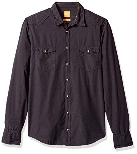 Hugo Boss Herren Erodeo Long Sleeve Shirt Button Down Hemd, schwarz, Klein