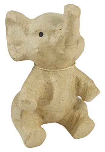 Décopatch SA142O Träger S aus Pappmaché, Elefant sitzend, 11 x 10 x 17 cm, zum Verzieren, Kartonbraun