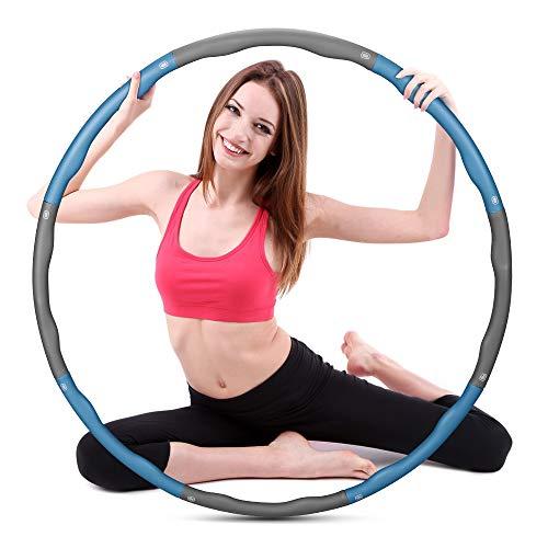 Molbory Hula Hoop Serie 8 sezioni del Hula Hoop rimovibile può regolare il peso, pneumatici Hoola Hoop adatti per fitness, sport, addome, adulti e bambini (grigio e blu)