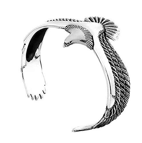 SHENTANSQ Brazalete de águila, brazalete vintage rock punk, pulsera de águila vikinga ajustable, brazalete de extremo abierto, pulsera de extremo abierto para regalos de San Valentín