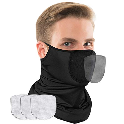 Neck Gaiter Face Mask with Ear Loops and 3 Filters, Cooling Bearthable Face Covering for Men Women, Reusable Cloth Scarf Workout Gator Mask for UV Sun Dust Protection, Black