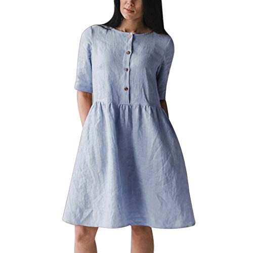 Lialbert Rundhals Kleid Dame Leinenkleid Kleid Freizeit Swing-Kleid Skaterkleid Schwingendes Plissierter Rock T-Shirt-Kleid KnöPfen Tunika Lockerer A-Linie Blau