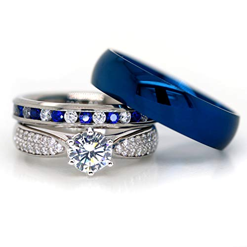 KingswayJewelry His and Hers 925 Sterling Silver Blue Sapphire Stainless Steel Wedding Rings Set Blue #SP24BLMSBL