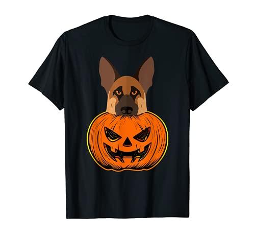 Pastor alemán Halloween calabaza talla policía perro canino Camiseta