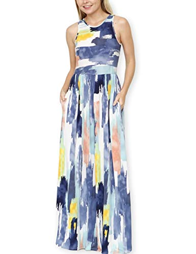 AOOKSMERY Women Summer Vintage Water Color Effect Print Dresses O-Neck Sleeveless Maxi Dress with Pocket Blue